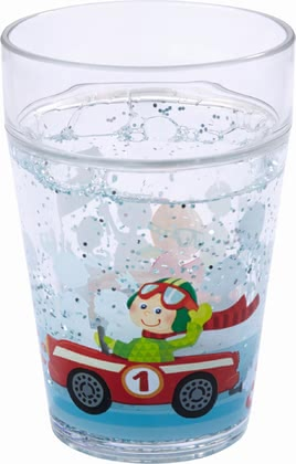 Haba兒童Flotte Flitzer閃亮杯 -  * This extraordinary glitter kids cup will make your little racer's heart melt instantly. The cup features two race drivers that wave cheerfully.