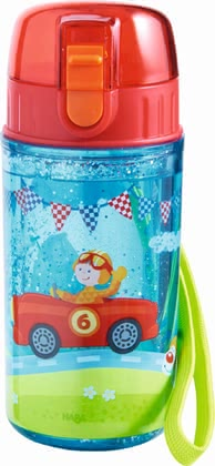 Haba Zippy Cars Glitter Water Bottle -  * Haba's water bottle features an adorable race driver design and great glitter effect and comes with a wide opening which makes it super easy to be cleaned and filled.