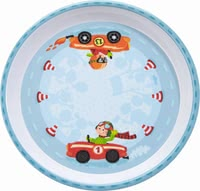 Haba兒童Flotte Flitzer盤子 -  * This adorable plate by Haba features zippy cars that race cheerfully around red/white striped traffic cones and encourage your little one to eat by himself.