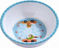 Haba兒童Flotte Flitzer碗 -  * Haba's Zippy Cars bowl that comes in a fancy race driver design will add some oomph to your little one's start into the new day.