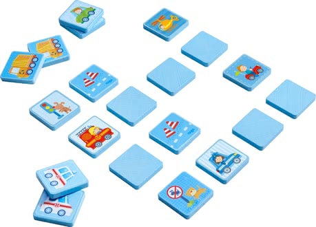 "Haba木質玩具汽車世界 -  * Not only little boys will fall in love with Haba's sturdy matching game ""World on Wheels"". Exciting vehicle-related motifs come in a lovely design and decorate 20 resilient matching blocks."