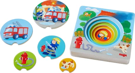 Haba木質拼圖3D 消防車圖案 -  * Little fire brigade fans will instantly fall in love with Haba's extraordinary 3D wooden jigsaw puzzle.