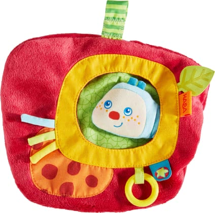 Haba游戲小墊子Mina -  * What a fun toy! Cheerful caterpillar Mina hides in this cute apple-shaped cushion. The integrated caterpillar finger puppet can be brought to life by mom or dad and will instantly make your little one's heart melt.