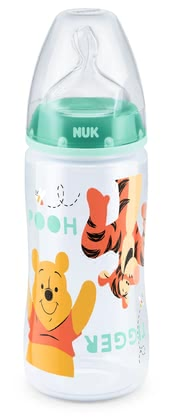 NUK First Choice Plus Disney Winnie the Pooh Baby Bottle, 300 ml - NUK's First Choice Plus baby bottle made of PP comes in a cute Winnie the Pooh design and features a silicone teat, size 2 M, 6 to 8 months.