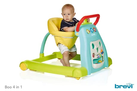 Brevi寶寶玩具活動中心Boo四合一 -  * The Boo 4 in 1is a colourful baby walker, activity centre, push walker and ride-on toy in one and is suitable for children at the age of 6 months and up. Due to its long-term use as well as its versatility the Boo 4 in 1 will accompany your child up to toddler age.