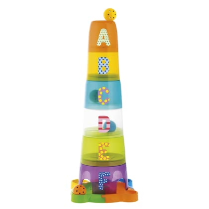 Chicco 2 in 1 Stacking Cups and Ball Track -  * A very special kind of stacking fun! This colourful stacking tower by Chicco features six coloured cups and one base.