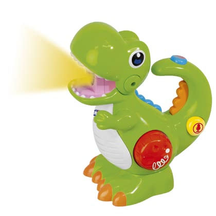 Chicco恐龍造型手電筒+錄音機 -  * The green dinosaur is the perfect toy for little explorers at the age of two years and up. Featuring lights and sounds as well as a voice recording and playback function you child will new and exciting fun every day.