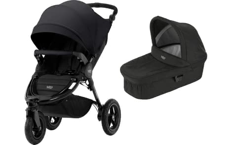 Britax 儿童推车 B-Motion 3 Plus,含晴雨两用罩 Canopy Pack + 睡篮 Hard Carrycot -  * This comprehensive set which consists of the Britax Römer B-Motion 3 Plus, a Canopy Pack and a hard carrycot comes in matching colours and accompanies your little one from birth up to the toddler age.