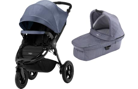 Britax Römer Pushchair B-Motion 3 Plus including Canopy Pack and Hard Carrycot Blue Denim 2018 - 大圖像