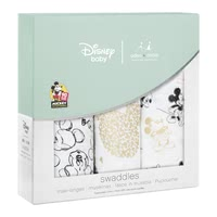 aden+anais Mickeys 90th Collection Swaddles, Pack of 3 -  * On the occasion of the 90th anniversary of Mickey Mouse aden+anais presents an exclusive metallic Disney collection with well-known images from the life of the world's most popular mouse.