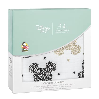 aden+anais 米老鼠90th系列夢幻嬰兒軟被 -  * On the occasion of the 90th anniversary of Mickey Mouse aden + anais presents an exclusive metallic Disney collection with popular images from the life of the world's most popular mouse.