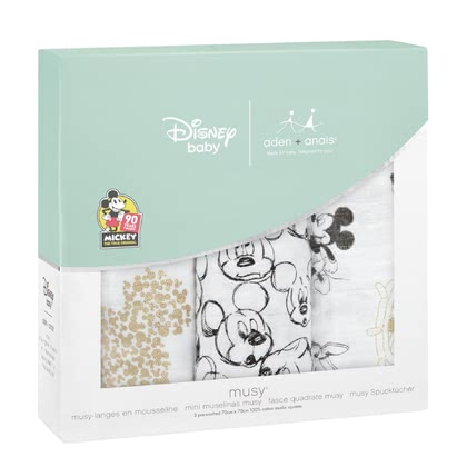 aden+anais米奇90th系列寶寶口水巾三件裝 -  * On the occasion of the 90th anniversary of Mickey Mouse aden + anais presents an exclusive metallic Disney collection with popular images from the life of the world's most popular mouse.