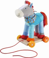 "Haba 哈巴 彩色馬 拉拽玩具 -  * This lovingly designed horse is a pull-along toy and cuddly soft playmate at the same time. Horse ""Colour Joy"" encourages your child to crawl and make their first attempts at walking."