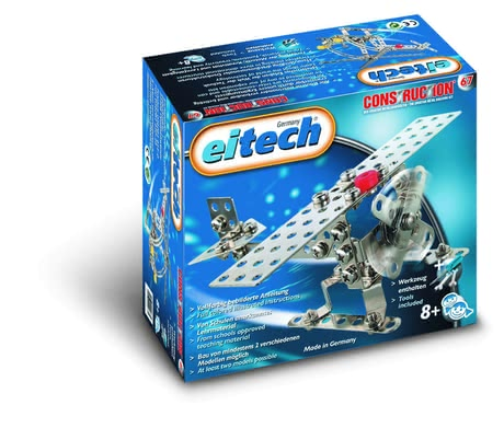 eitech 金屬套件拼裝益智玩具 飛機/直升機 -  * The Metal Building Kit Aircraft/ Helicopter is perfect for constructing two different models – either an aircraft or a helicopter. This kit is particularly suitable for beginners since the construction is not too complex but still compact and robust.
