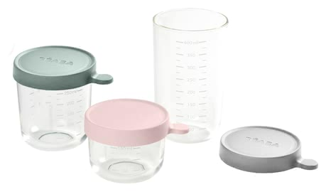 Béaba食物分裝盒 玻璃材質 3件套 -  * Store, freeze, heat and sterilise – all in one container. The practical Béaba containers are made of particularly high-quality and resilient glass and are perfect for storing baby food.