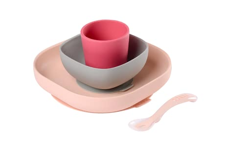 Béaba嬰兒輔食碗勺套裝 硅膠材質 -  * This adorable Béaba meal set will delight everyone with its great pastel colours – trend-conscious parents rely on clear lines and are convinced by all the convenient features this set has.