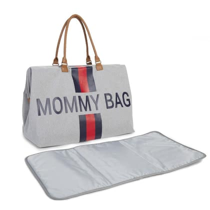 "Childhome帆布媽媽包""Mommy"" Bag Stripes red_blue - 大圖像"