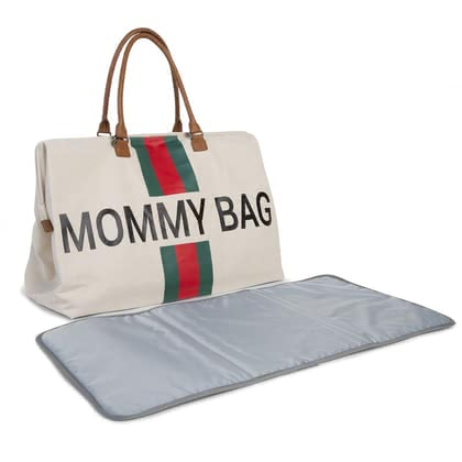 "Childhome帆布媽媽包""Mommy"" Bag Stripes green_red - 大圖像"