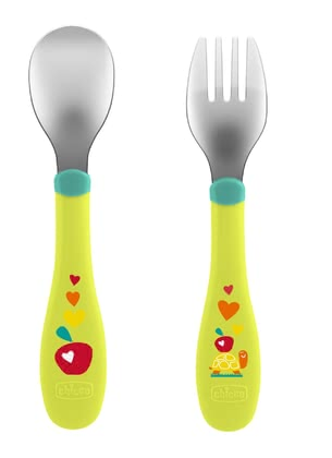 Chicco智高不銹鋼餐具套裝 18月大寶寶適用 -  * Your child's first own cutlery! Enjoy your little one's first step to independence. Naturally, a part of this is to learn independent eating and that can be done with this colourful cutlery set.