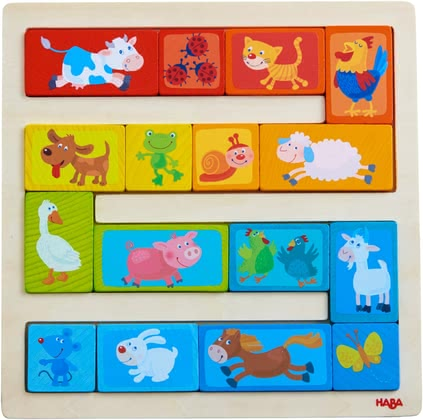 Haba散裝區塊玩具 動物天堂 -  * With the colourful Haba arranging game 'Animal Parade', children at the age of 2 years and up will learn how to differentiate colours and sizes.
