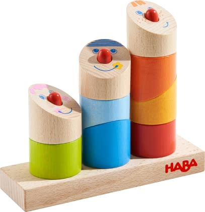 Haba兒童益智堆疊游戲 -  * With its crazy but fun angles, Haba's cheerful pegging game slightly marches to a different drummer. Again and again, your little explorer can put together the funny little guys from nine different parts.