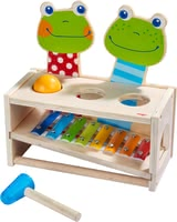 Haba敲擊樂玩具 青蛙演唱會 - 2 in 1 – cute hammer bench and colourful metallophone. Haba's hammer bench 'Frog Concert' promotes the musical development of your child in a playful way.