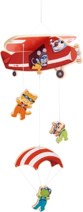 Haba 移動飛機跳傘掛件玩具 -  * Only the sky is the limit, isn't it? This cute mobile will make your little one's heart melt instantly. It will stimulate their senses as they watch a mouse, cat, bear and frog bravely heading into their next adventure.