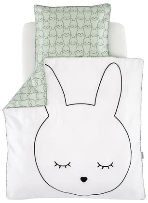 "Träumeland床上用品 卡通兔造型80 x 80 cm -  Funny, modern and extravagant! The dreamlike look of the Träumeland bed linen ""Cuddly Bunny"" provides your little one with many cosy nights in the bassinet, bedside cot or in the stroller."