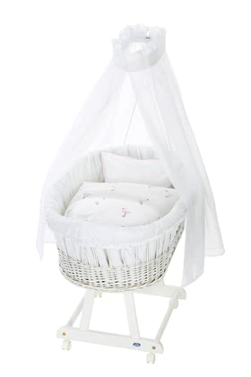 Alvi 嬰兒睡籃床可移動Birthe 6件裝 Flamingo款式 -  * The ultimate eye-catcher in every room – the bassinet Birthe by Alvi now comes with an extra-large lying surface. The extra-spacious, hand-woven wicker basket provides your baby with a safe and secure sleeping place right from the first day.