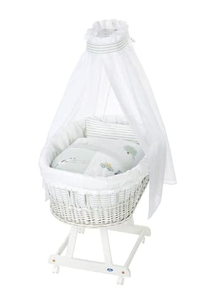 Alvi 嬰兒睡籃床可移動Birthe 6件裝Little Farm款式 -  * The ultimate eye-catcher in every room – the bassinet Birthe by Alvi now comes with an extra-large lying surface. The extra-spacious, hand-woven wicker basket provides your baby with a safe and secure sleeping place right from the first day.