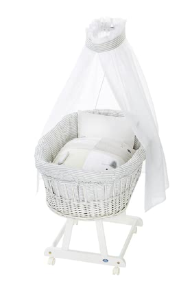 Alvi 嬰兒睡籃床可移動Birthe 6件裝Faces款式 -  * The ultimate eye-catcher in every room – the bassinet Birthe by Alvi now comes with an extra-large lying surface. The extra-spacious, hand-woven wicker basket provides your baby with a safe and secure sleeping place right from the first day.