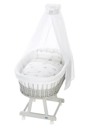 Alvi 嬰兒睡籃床可移動Birthe 6件裝Stachelfreunde款式 -  * The ultimate eye-catcher in every room – the bassinet Birthe by Alvi now comes with an extra-large lying surface. The extra-spacious, hand-woven wicker basket provides your baby with a safe and secure sleeping place right from the first day.
