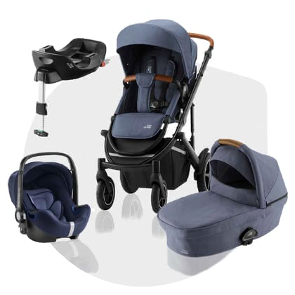 Britax Römer Stroller SMILE III – Comfort Plus Bundle -  * ✓ 3 in 1 stroller set with base station ✓ Convenient change between the travel systems ✓ TOP suspension and pneumatic tires ✓ Excellent protection in the car according to the i-Size standard