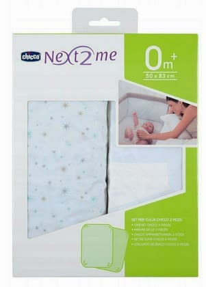 Chicco 床罩適用於 附加嬰兒床Next2Me, 2件裝 -  * The Chicco fitted sheet fit perfectly on the mattress of your Next2Me bedside cot and allow your child to sleep and dream peacefully at all times.
