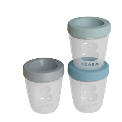 Béaba 食物分裝器 矽膠材質,3件裝 -  * The Béaba silicone containers come in a practical set of 3 and ensure that you can seal your baby's food tight – a smart solution for transporting and storing single portions for your child.
