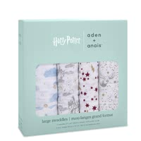 aden+anais 哈利波特系列Swaddle襁褓巾 4件裝 -  * The most magical muslin of all time! Dive into the magical world of Harry Potter™ together with your baby. Iconic images of Hogwarts™, the Golden Snitch and Harry's flying owl Hedwig make the new aden + anais Metallic collection simply unique.