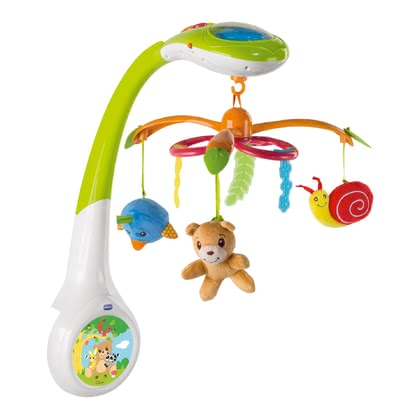 Chicco 玩具 神奇的森林世界 -  * The colourful electronic mobile takes your baby into the amazing world of Chicco's magical forest. Depending on your wishes, the three functions of the Chicco Mobile Magic Forest can be selected individually or in combination.