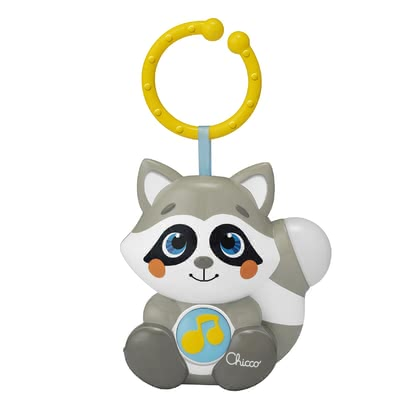 Chicco玩具鐘帶有小夜燈 小浣熊造型 -  * Cloudy the raccoon is not only a great night light, but also a great toy for a relaxed ride in the stroller. Thanks to the C-ring, the charming Chicco music box can be attached to almost everything – that way, you can always take it with you.
