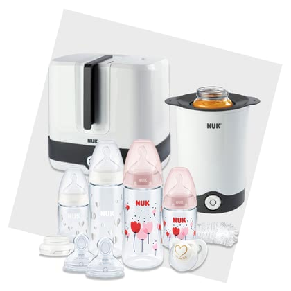 NUK完美新生兒套裝特別帶有溫感指示 -  * ✓ All-round carefree package for a happy and relaxed start with your baby ✓ Starter set with NUK baby bottles and accessories, steriliser, baby food warmer, soother and many more
