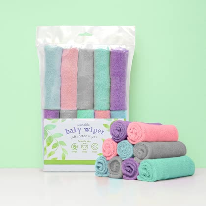 BambinoMio 柔軟棉質 嬰兒擦巾 -  * ✓ fluffy washcloths ✓ eco-friendly ✓ reusable ✓ gentle cleaning