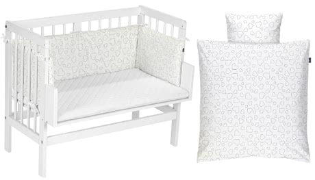 Alvi Bedside Cot – Complete Set (5 pieces), Hearts white -  * This Alvi set contains a co-sleeping bed, a mattress, bed linen, cot bumper and fitted sheet and thus, provides your little one with everything they need for a pleasant and restful sleep.