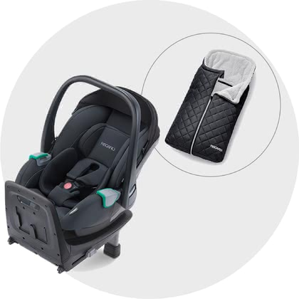Recaro 特別優惠組合裝 包含底座和免費的腳套 -  * Safety and comfort! When you buy the Recaro Avan infant car seat now, you'll get the practical footmuff for free.