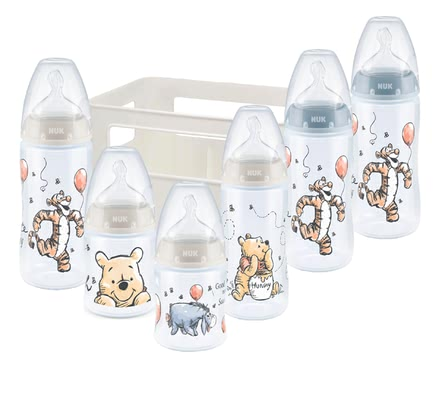 NUK First Choice+新生兒套裝 小熊維尼–限量 -  * ✓ Baby bottles with temperature control display ✓ Silicone teat with Anti-Colic Air System ✓ Contents: 6 bottles, 1 bottle box