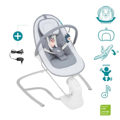 "Babymoov Swoon Light嬰兒電動搖椅 -  * With the electric baby bouncer ""Swoon Light"" by Babymoov, your baby is provided with first-class bouncing fun."